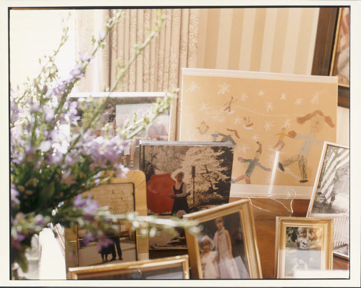 ART ON DISPLAY. A collection of photographs, many taken by Tipper Gore, along with various pieces of artwork, sit handsomely on the piano in the foyer of the home. Number One Observatory Circle, the official home and residence of the Vice President of the United States. (Photographer: Oberto Gili). Text credit: Charles Denyer.
