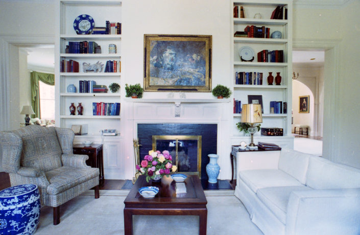 First Floor Study. The interior of the vice president's residence on July 30, 1981 during the vice-presidency of George Herbert Walker Bush, America's 43rd Vice President. Number One Observatory Circle, the official home and residence of the Vice President of the United States Photo credit: George Bush Presidential Library and Museum. Text Credit: Charles Denyer.