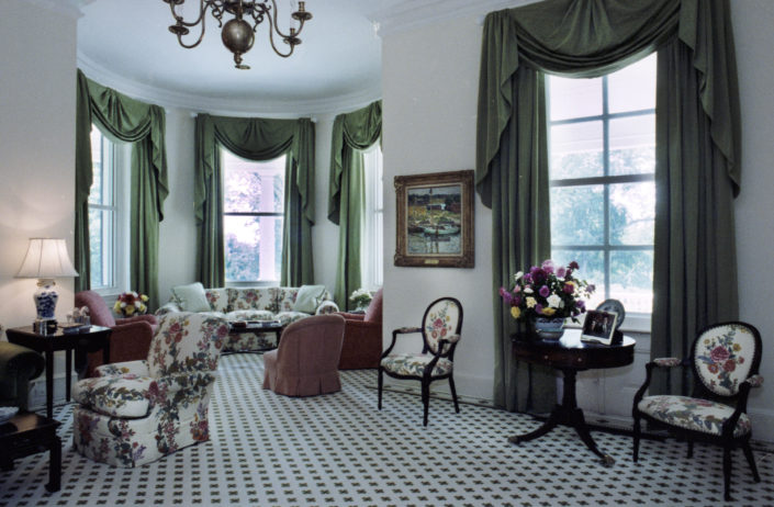 First Floor Living Room. The interior of the vice president's residence on July 30, 1981 during the vice-presidency of George Herbert Walker Bush, America's 43rd Vice President. Number One Observatory Circle, the official home and residence of the Vice President of the United States Photo credit: George Bush Presidential Library and Museum. Text Credit: Charles Denyer.