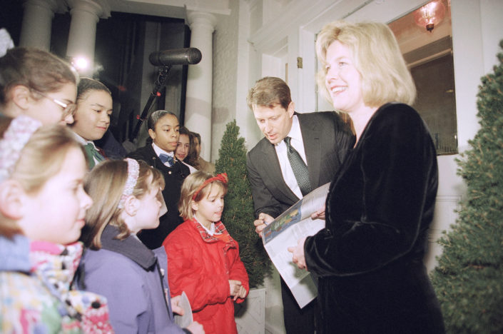 Brownies from Chevy Chase, D.C., troops 1925 sell Girl Scout cookies to Vice President Gore and wife Tipper at the vice presidents residence at the Naval observatory in Washington, Wednesday, Jan. 26, 1994. Left to right, Brownies foreground Alice Hackenfuss, Lauren Tate and Motie Blackburn. Girls background are unidentified. Number One Observatory Circle, the official home and residence of the Vice President of the United States. (AP Photo/Joe Marquetta)