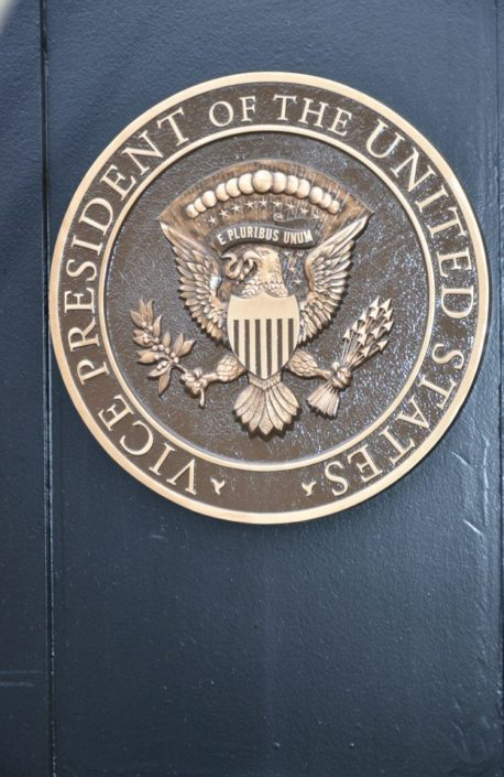 THE VEEP LIVES HERE: Vice-presidential seal displayed on one of the gates at Number One Observatory Circle, the official residence of the Vice President of the United States. (Credit: facebook, Number One Observatory Circle Facebook Page). (Credit: facebook, Number One Observatory Circle Facebook Page). Text credit: Charles Denyer.