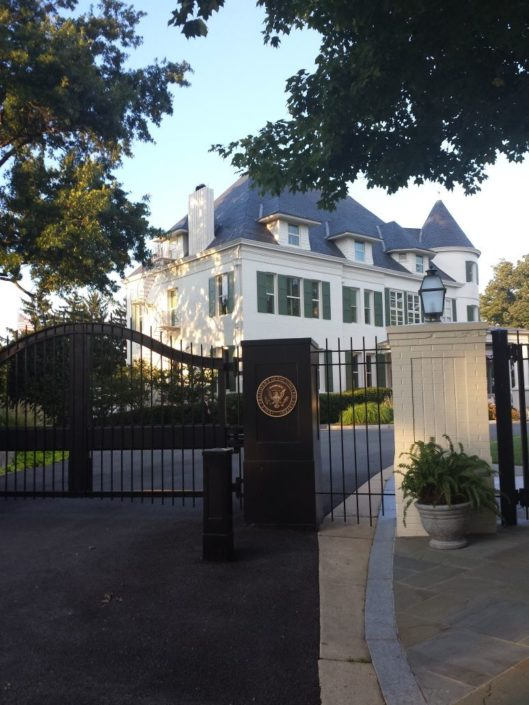 PROTECTION: One of the many gates protecting Number One Observatory Circle, the official residence of the Vice President of the United States. (Credit: facebook, Number One Observatory Circle Facebook Page). Text credit: Charles Denyer.