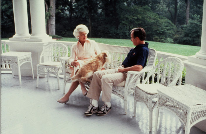 Vice President George H.W. Bush and Barbara Bush relax at the Vice President's residence in August 1982. Number One Observatory Circle, the official home and residence of the Vice President of the United States. Photographer: Dennis Brack. Text credit: Charles Denyer.
